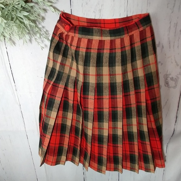 Vintage Dresses & Skirts - Vintage school girl pleated plaid kilt skirt
